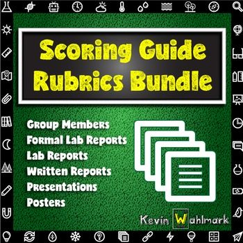 Scoring Guide Rubrics Bundle for high school.  Scoring guide rubrics make grading student work a lot easier. It also helps students know how to complete their work for to earn the best grade possible.  Rubrics for lab reports, presentations, group member evaluation, and more.