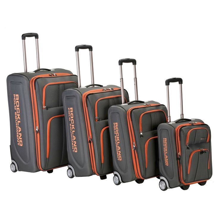 Rockland Varsity Polo Equipment 4pc Luggage Set - Charcoal (Grey)