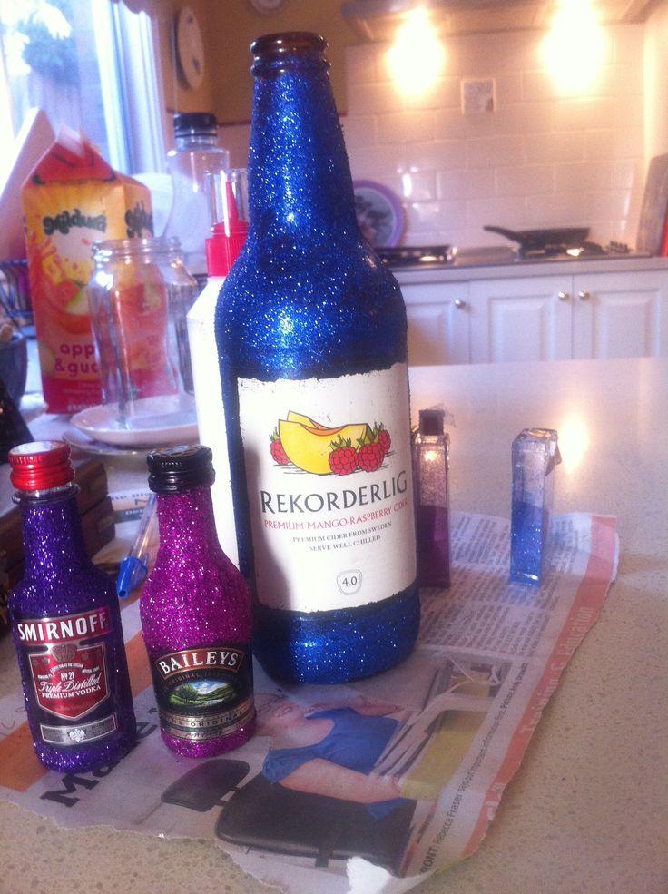 My try at glitter bottles. #glitter #alcohol #bottles #craft #diy