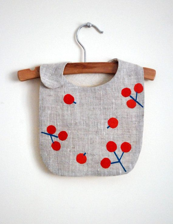 Red Berry bib / handprinted on gray linen fabric by yorikoNewYork, $22.00