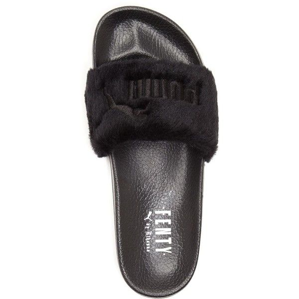 Puma Fenty Leadcat Faux Fur Slide Sandals ($80) ❤ liked on Polyvore featuring shoes, sandals, puma sandals, puma shoes, faux fur shoes, slide sandals and puma footwear