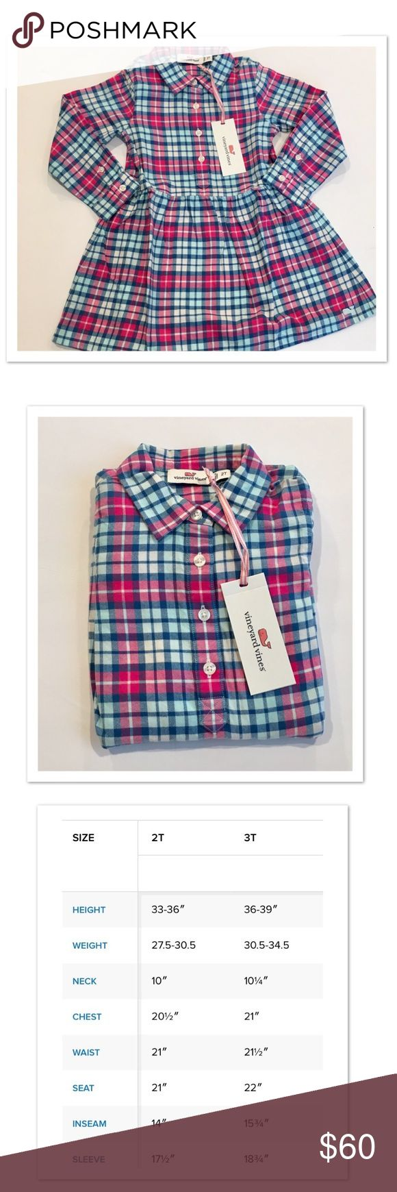 Vineyard Vines Flannel Shirt Dress Vineyard Vines piper plaid shirt dress. 100% Cotton flannel soft!   Features: · Brother and sister matching style!   · Long sleeve shirt waist dress  · Button down front placket with collar  · Length hits above knee Vineyard Vines Dresses Casual
