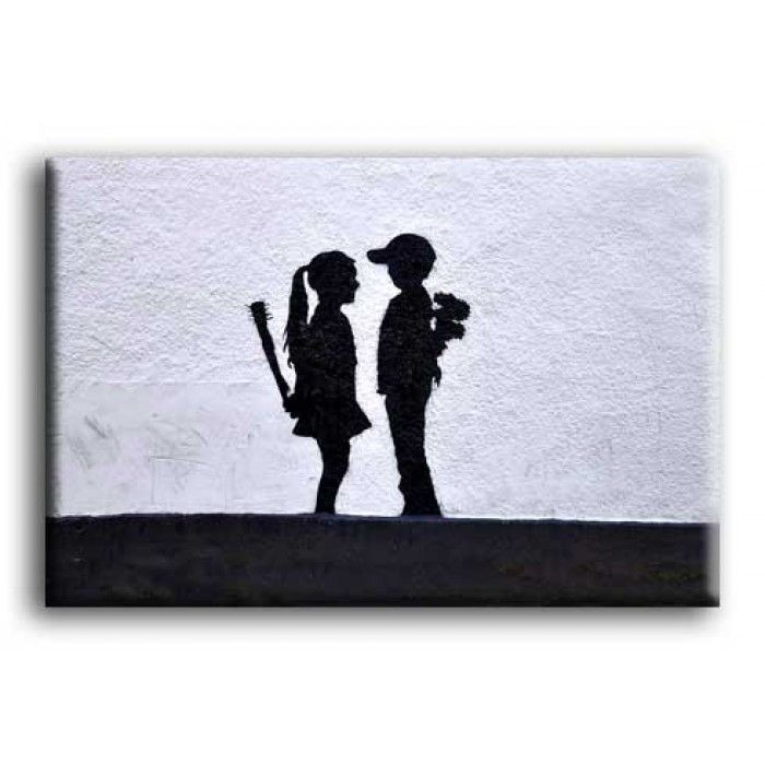 Banksy Canvas Print - Boy Meets Girl - The Banksy Shop