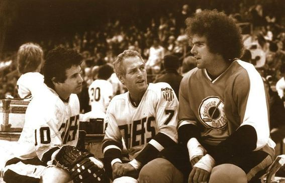 slap shot paul newman | Slap Shot: Paul Newman, Michael Ontkean and Ned Dowd on set - photo ...