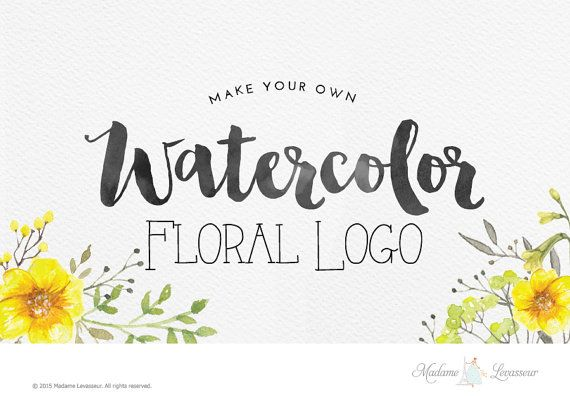 watercolor flower logo design make your own by MadameLevasseur https://www.etsy.com/listing/228748278/watercolor-flower-logo-design-make-your?utm_content=buffer5a457&utm_medium=social&utm_source=pinterest.com&utm_campaign=buffer