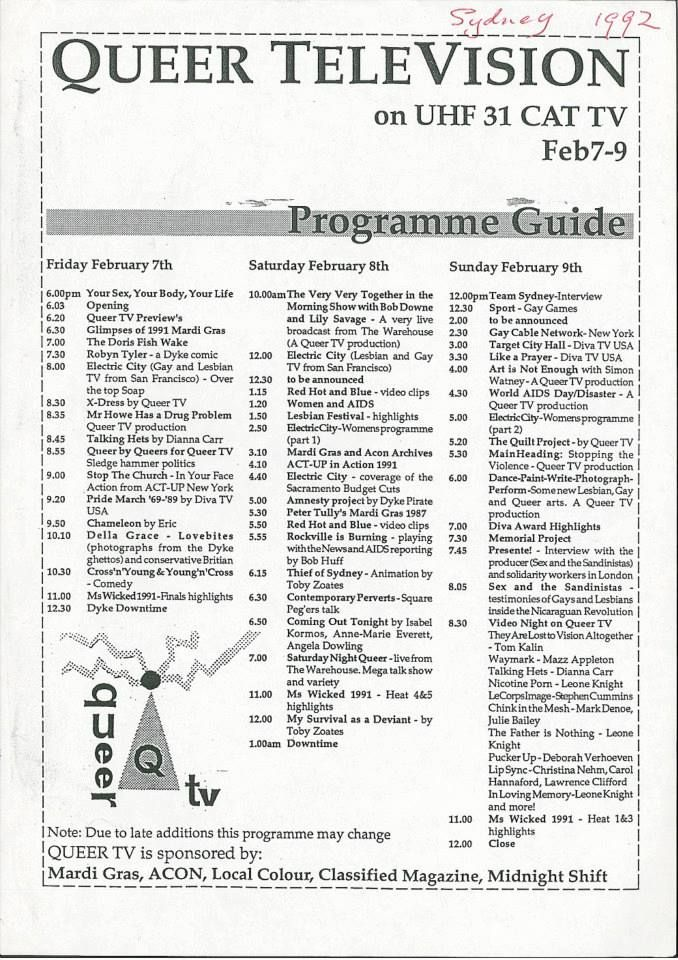 Queer TeleVision - programme guide, 7-9 February 1992, Ephemera Collection, Australian Lesbian and Gay Archives (ALGA)