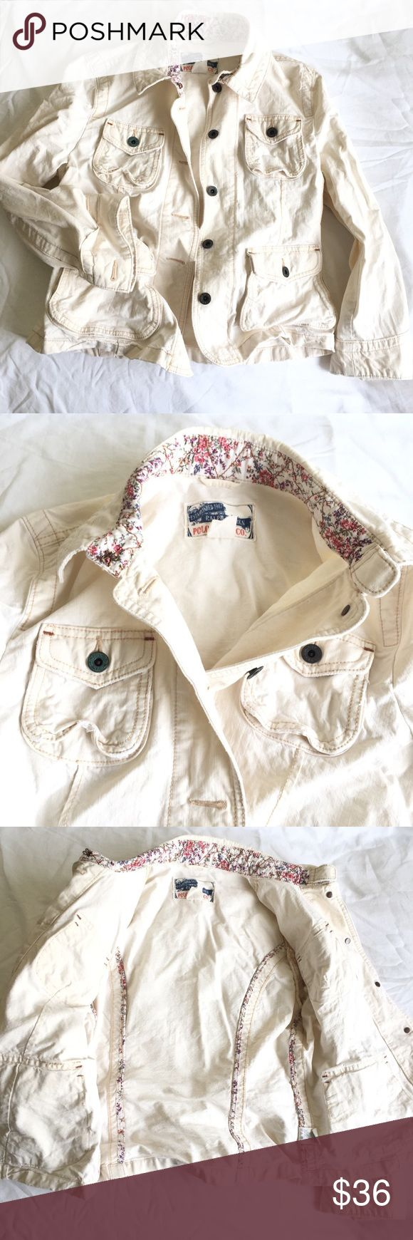 💥SALE Polo Jeans Crinkled Cream Jean Jacket M Lightly used Polo Jeans distressed crinkled cream color jean jacket. This jacket has crinkled distressed look with original light rips and holes by design. Very cute stitching designs. Cute with jeans or skirts. Beautiful cream color. Check measurements on picture. Comes from pet & smoke free home. Polo Jeans Jackets & Coats Jean Jackets
