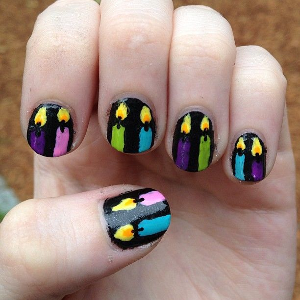 bright birthday candle nails