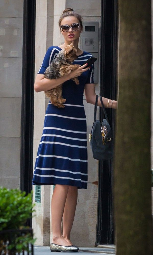 Miranda Kerr in blue sundress and Pretty Ballerinas out in New York