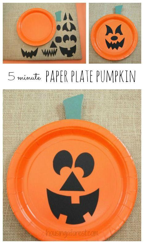Paper Plate Jackolantern ~ The EASIEST Halloween pumpkin craft for kids