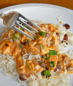 Salsa Chicken (Slow Cooker)- except I would substitute the sour cream with plain greek yogurt