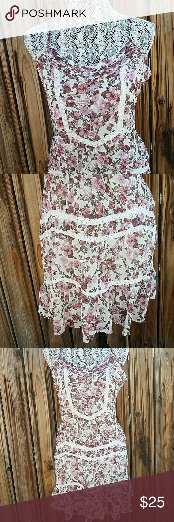 American rag floral country side dress Adjustable straps, brand new without tags. Size large. American Rag Dresses Midi