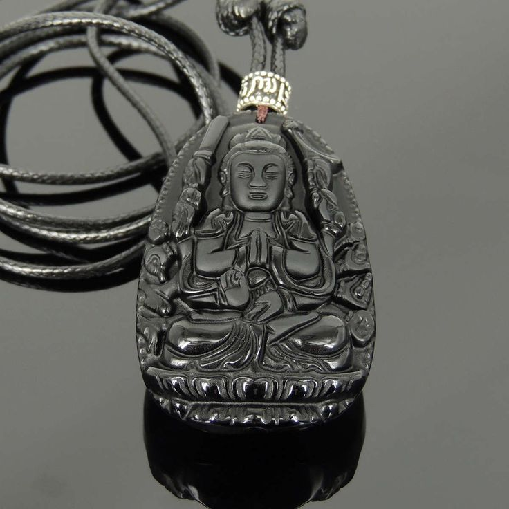 Adjustable Wax Rope Necklace with Black Obsidian Guanyin Buddha Pendant & S925 Sterling Silver OM Meditation Barrel Bead - Handmade by Gem & Silver NK186