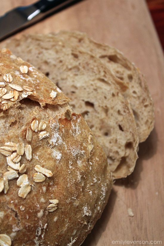 Oat No-Knead Bread After making my first loaf of no-knead bread, I'm hooked.  You slow raise it over 12-18 hrs. Wonderful flavor with a crisp crust.  Can't wait to try this one.