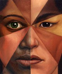 One face created with different skin tones. A group of people used to create one face.