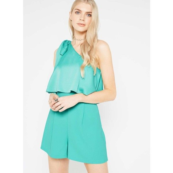 Miss Selfridge PREMIUM One Shoulder Bow Playsuit (150 AUD) ❤ liked on Polyvore featuring jumpsuits, rompers, pale green, playsuit romper, one shoulder romper, blue romper, miss selfridge and blue rompers