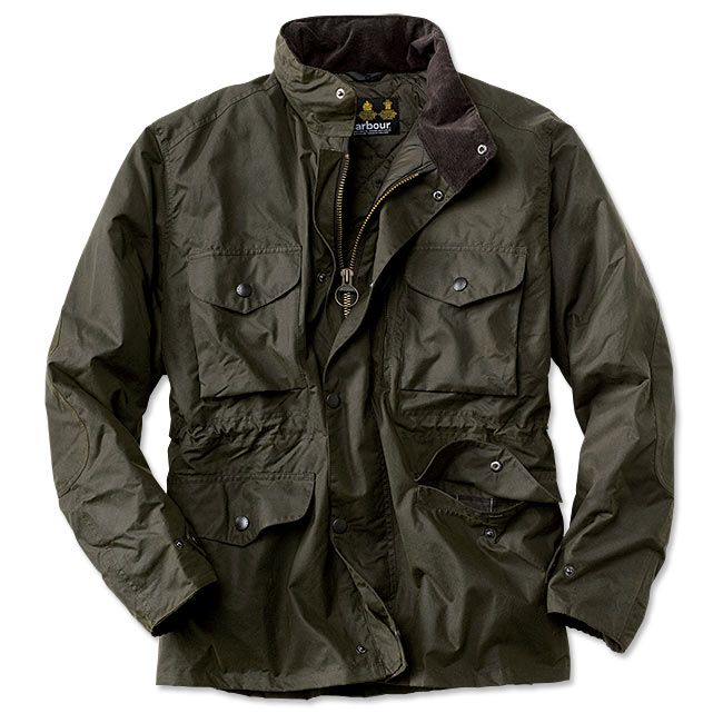 "A multifeatured army-style jacket built in medium weight 6-oz. Sylkoil waxed cotton. Polyester insulation for warmth. Two-way front zip with studded front flap. Corduroy inner collar and cuffs. Stowaway hood in the collar. Four patch flap pockets on the front and an inner zip pocket. Inner-waist drawcord. Specially treated 100% cotton shell. Cold sponge. No soap. Imported.  <br />Sizes: S(34-36), M(38-40), L(42-44), XL(46-48), XXL(50-52); about 32½"" long in size large. Contemporary Fit. ..."