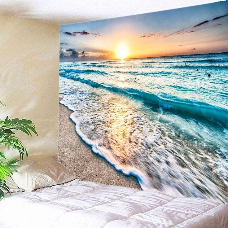 Sunrise Beach Waves Print Tapestry Wall Hanging Art - LAKE BLUE W91 INCH * L71 INCH