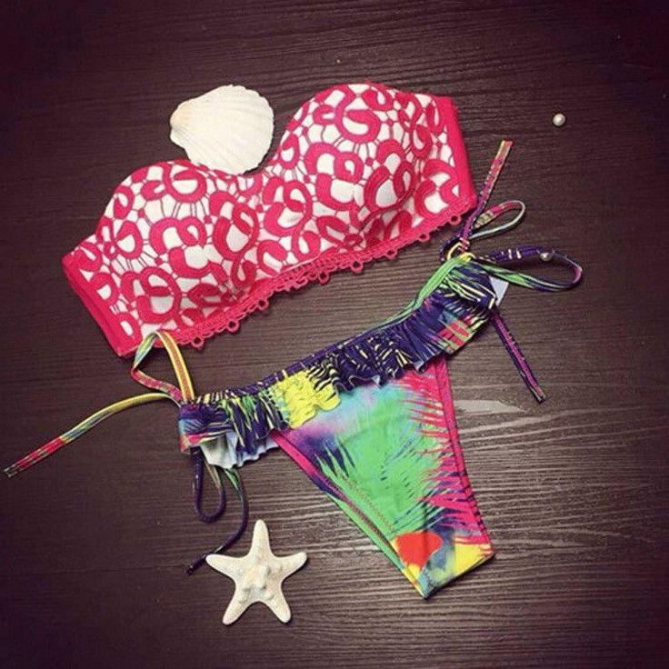 New Womens Brazilian Low Waist Bikini Set Swimwear 3