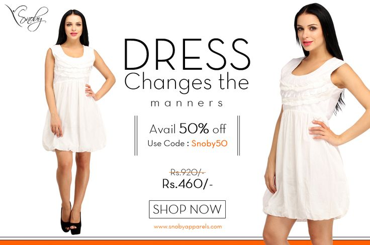 """White Shift Dress Avail 50% Off using Coupon Code """"Snoby50"""" Shop Now http://www.snobyapparels.com/…/…/dresses/white-onepiece.html"""