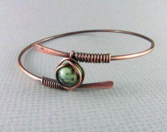 Bangle Bracelet Wire Wrapped Bracelet Blue by PolymerPlayin