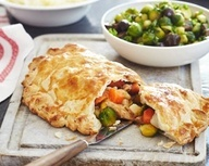 Turkey pasty with mash and sprouts recipe