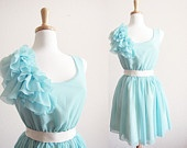 Tiffany Blue Romance Ruffles BridesMaid marie antoinette Party Dress
