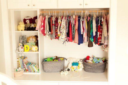 Remove closet doors. Add shelving. Eden's Sweet Space to Grow