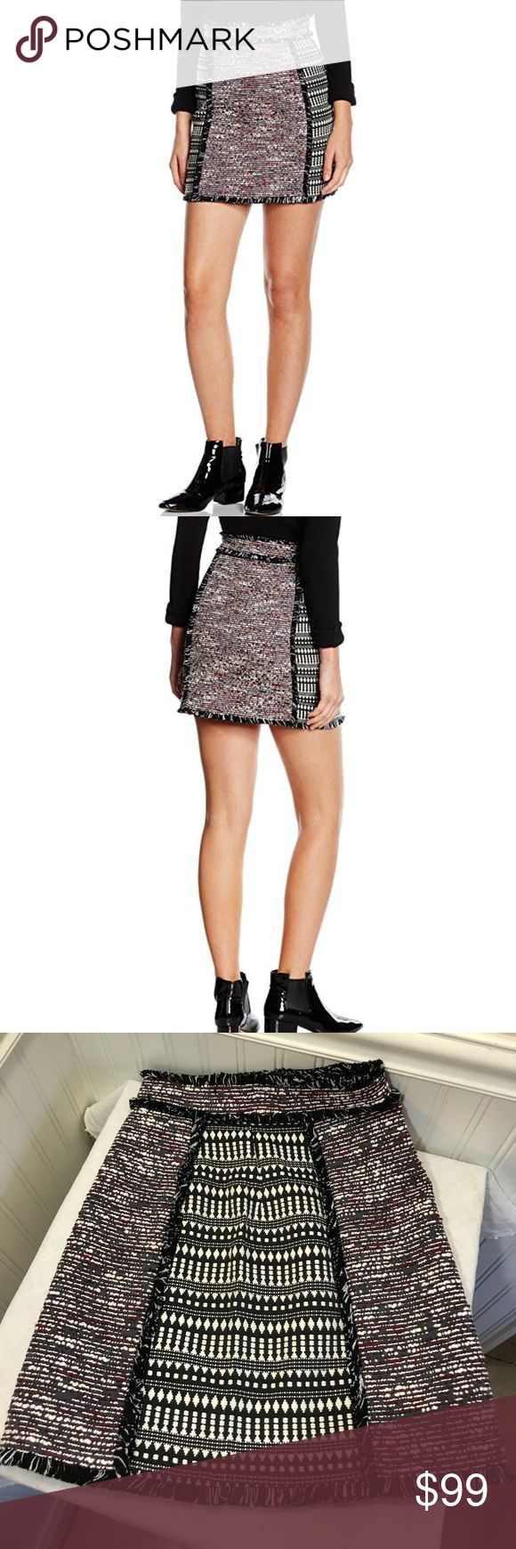 "French Connection Women's Pixel Mix Cotton Mini French Connection Women's Pixel Mix Cotton Mini Tweed Skirt, Black/Multi. 60% Polyester 40% Viscose. Medium weight fabric. Size 0 is 24"" waist17"" long💕 Size 10 is 31"" waist 18"" long. French Connection Skirts Mini"