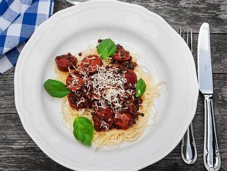 Spaghetti med chorizo och linser