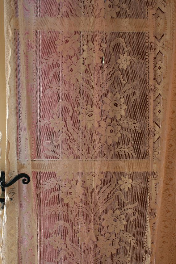 Pair French Vintage Ivory Lace Curtain Panels Lace Sweet