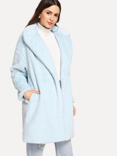 502c2c3a05 Button Front Faux Fur Coat -SheIn(Sheinside) | Closet wishes | Faux ...