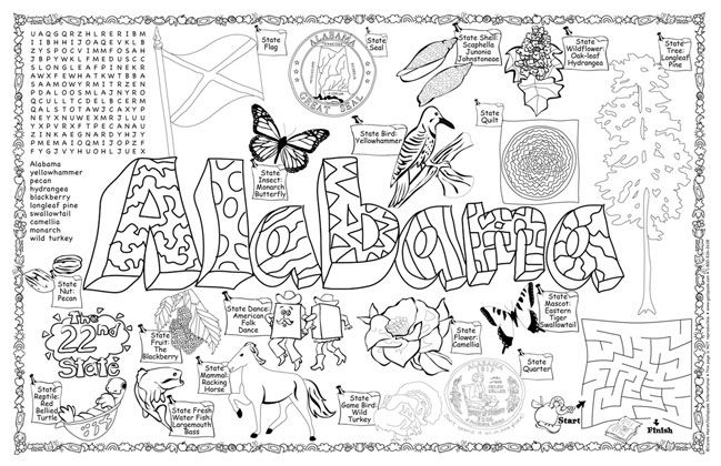 Alabama state information alabama symbols facts for State of alabama coloring pages
