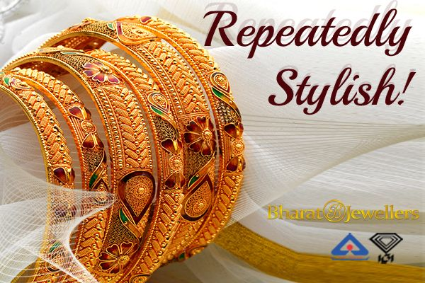 Hallmark gold bangles in remarkable designs! Visit Bharat Jewellers to know more about these stunning pieces!