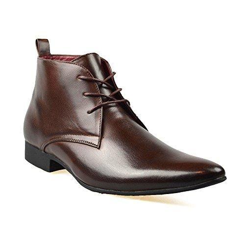 Oferta: 20.41€. Comprar Ofertas de Piel Negra Hombre Elegante Formal Casual Con Cordones Botas Zapatos RU TALLA 34 7 8 9 10 11 - Marrón, 42 EU/8 UK barato. ¡Mira las ofertas!