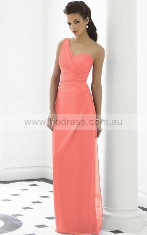 Sleeveless Zipper One Shoulder Floor-length Chiffon Formal Dresses b140508--Hodress