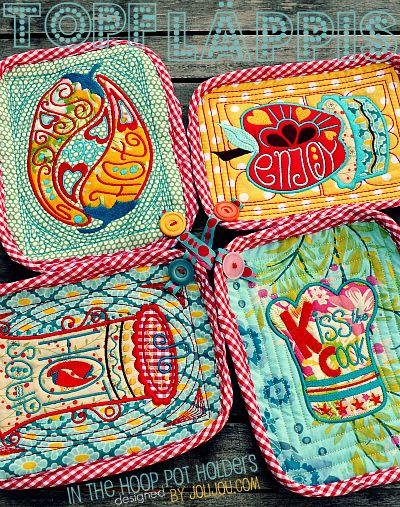 in the hoop pot holders - embroidery design by me for #huups