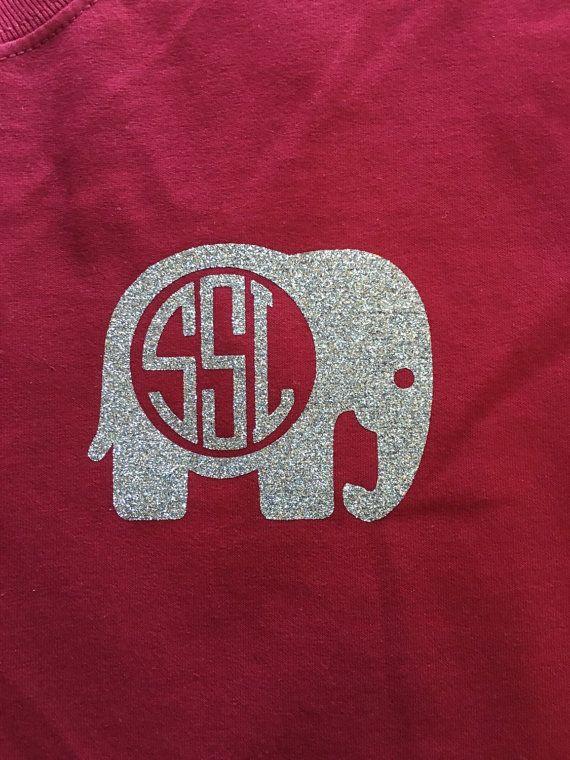 Elephant Glitter Monogram T Shirt Crimson Monogram Shirt
