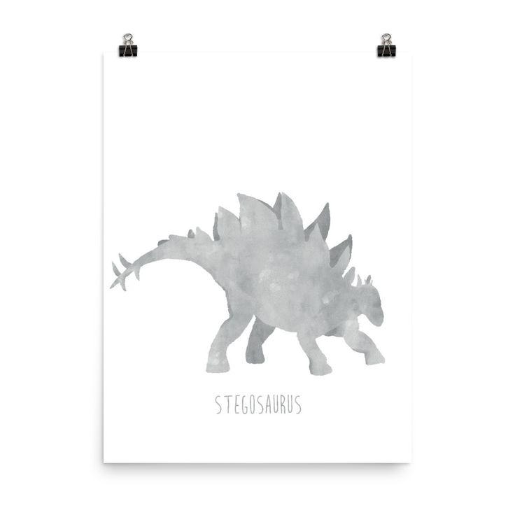 Dinosaur Nursery Print – Grey Stegosaurus