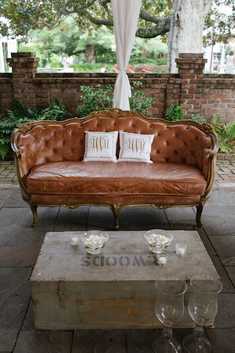 10 Luxe Leather Details- Lounge in style with a plush leather sofa and monogrammed cushions. Source:junebugweddings.com #leather #weddingseating