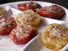 Garlic Grilled Tomatoes  **could also broil in oven**