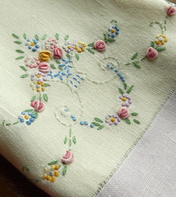 Lavender Embroidered Tea Towel - Vintage