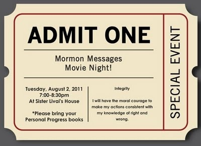 Jeanius Ideas for YW: Mormon Messages Movie Night - Integrity Activity