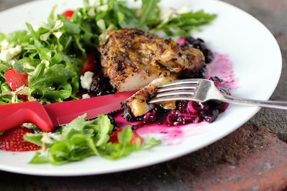 #Patriotic Grilled Chicken, Savory #Blueberry Compote, #Strawberry Arugula Salad