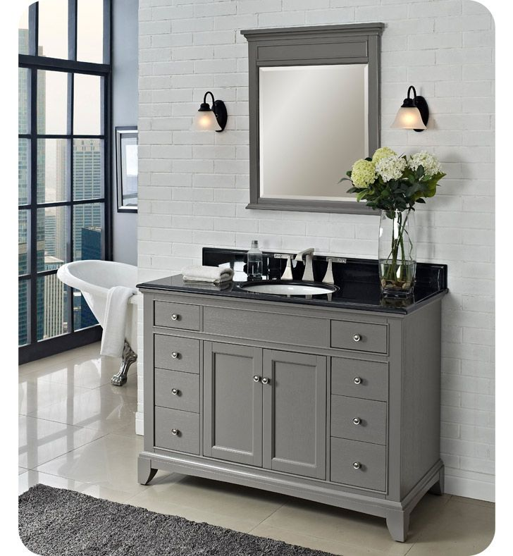 48'' morden gray bathroom vanity, elegant mirror with frame. Black granite top with Cupc undermount sink. eight drawers and two doors.