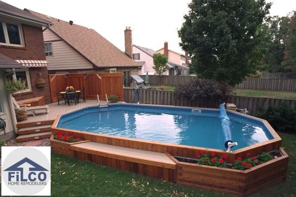 on ground pool.... like the flower bed built on side