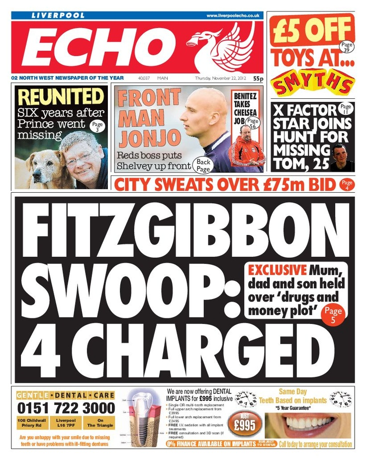 Liverpool Echo front page 22nd November 2012. How is local news production changing? Local news is highly reliant on advertising