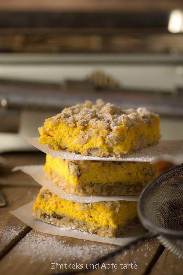Zimtkeks und Apfeltarte - Kürbis-Cheesecake mit Streuseln
