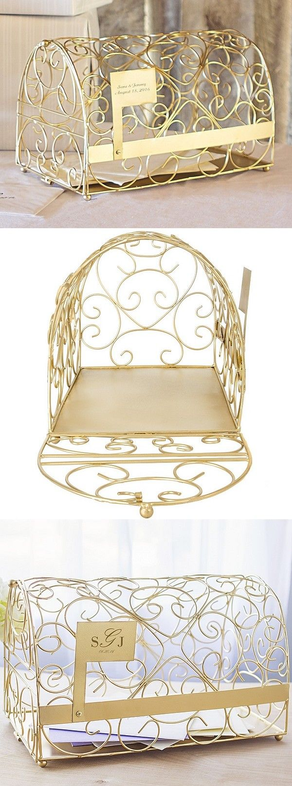 Personalized Gold Metal Scroll Gift Card Mailbox Wedding Box