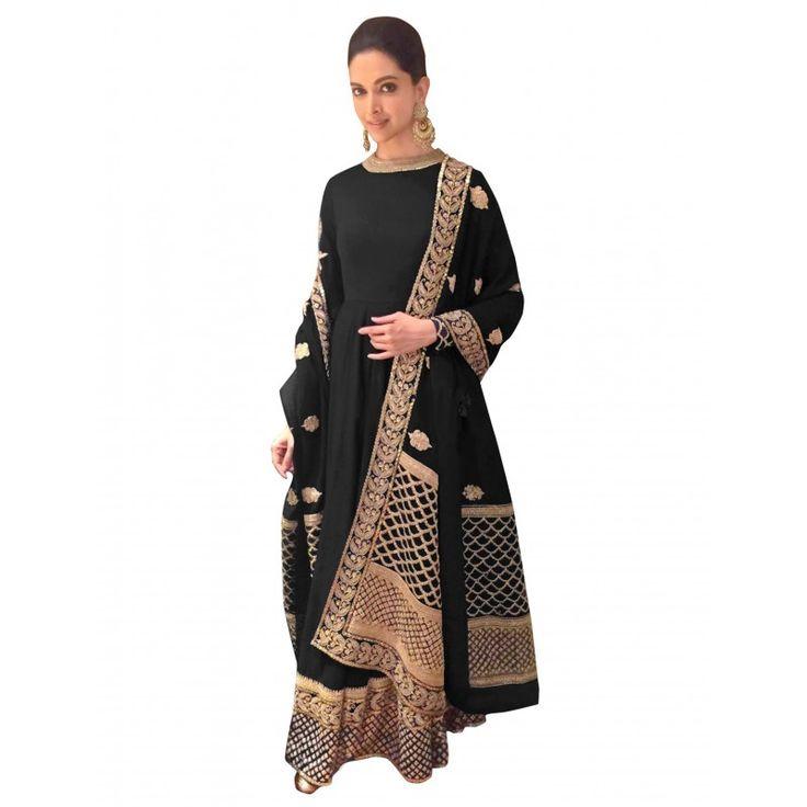 Bollywood Replica - Deepika Padukone Georgette Black Anarkali Suit  - 70048